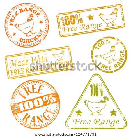 Made with free range chicken rubber stamp vector illustrations - stock vector
