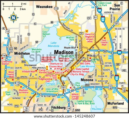 Madison Wisconsin Area Map Stock Vector 145248607 Shutterstock