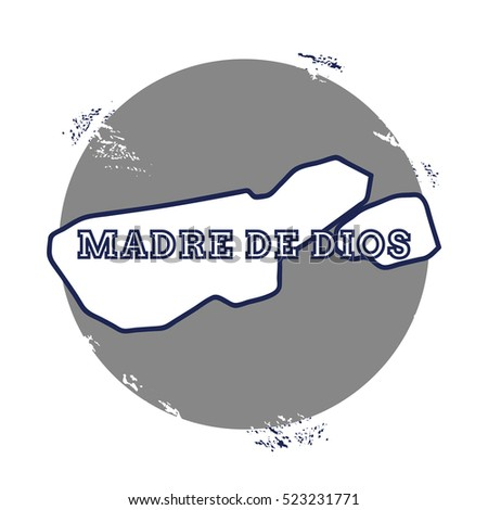 Madre de Dios Island vector map. Grunge rubber stamp with the name and map of island, vector illustration. Can be used as insignia, logotype, label, sticker or badge.