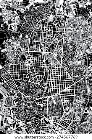 Madrid black and white map - stock vector