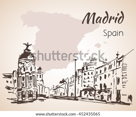 Madrid hand drawn street. Spain. Isolated on white background