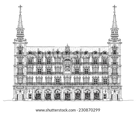 Madrid, house of Phillip III in Plaza Mayor, Sketch collection - stock vector