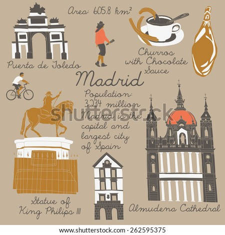 Madrid landmarks and monuments - stock vector