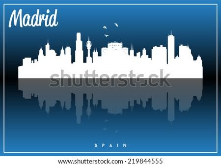 Madrid, Spain skyline silhouette vector design on parliament blue background. - stock vector