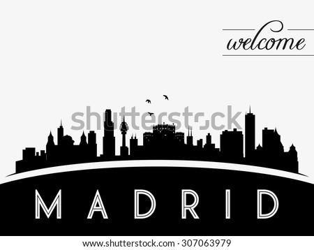 Madrid Spain skyline silhouette vector illustration, black and white design. - stock vector