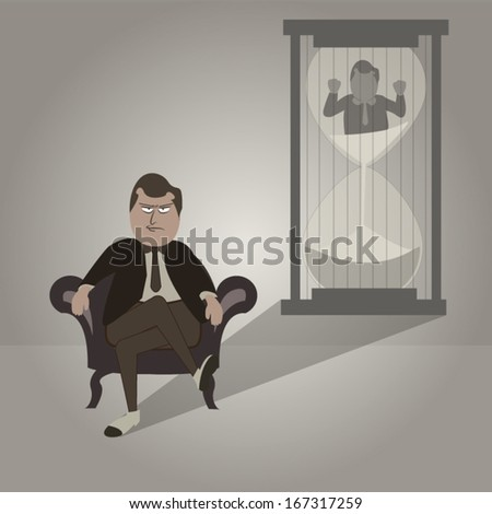 Mafia Business Prisoner and sand glass  - stock vector