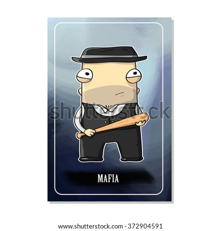 mafia cards gangster with bat