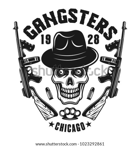 Cool Skull Logos With Guns Italian Mafia S...