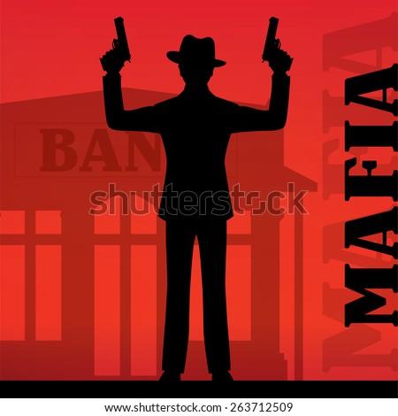 mafia gangster man rob bank black silhouette - stock vector