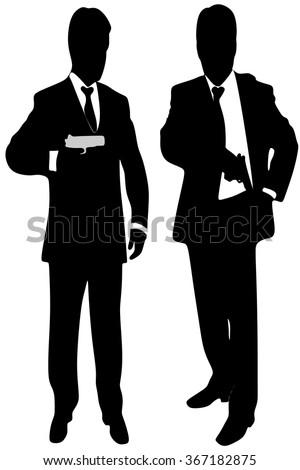 mafia man with handgun - stock vector