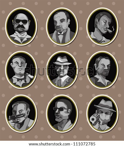 mafia stickers - stock vector