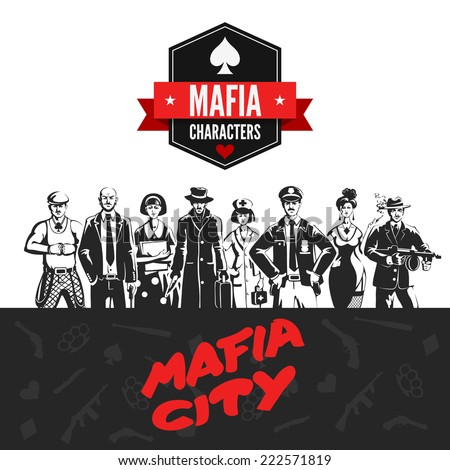 Mafia vintage people professions uniform abstract portrait silhouettes