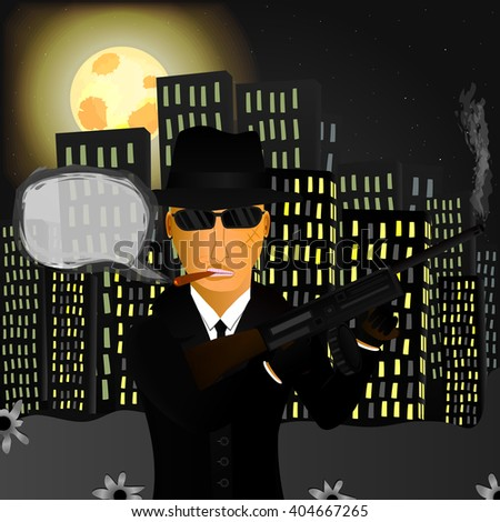 Mafioso in the night city with a gun, cigar and sunglasses (for greater coolness). Behind houses the moon is shining. Illustration showing the stereotypes at present and reflect the past. Vector. - stock vector
