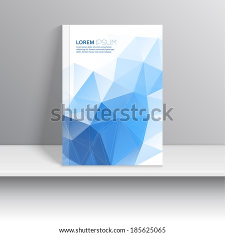 Magazine cover standing on a shelf with gray shadows. Dark blue background with triangular polygons.  Modern design. Art Projects. - stock vector