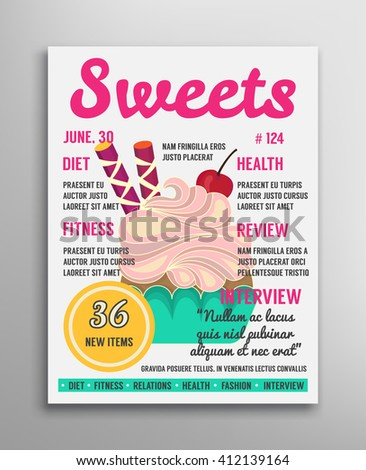 Magazine Cover Template Bakery Sweets Cover Stock Photo (Photo ...