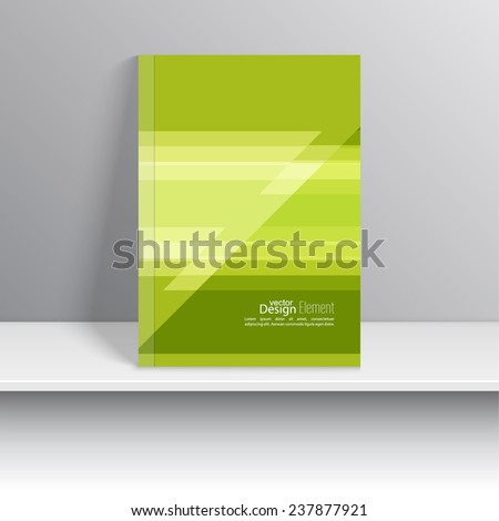Magazine Cover with colored stripes, triangle. For book, brochure, flyer, poster, booklet, leaflet, postcard, business card, annual report. vector illustration. abstract background, green - stock vector
