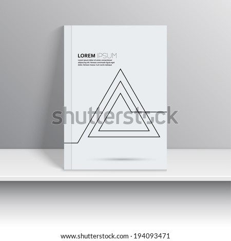 Magazine Cover with curved lines, triangle. Labyrinth, hipster. Modern flat design. Art object presented on the shelf. Booklet, postcard, business card - stock vector