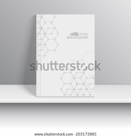 Magazine Cover with molecules, DNA and chemical compounds .  Art object presented on the shelf. Booklet, postcard, business card, annual - stock vector