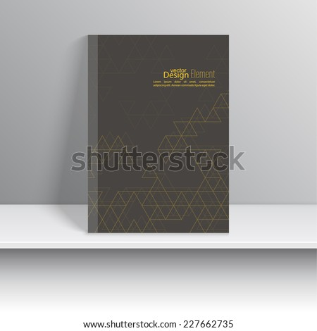 Magazine Cover with pattern triangles. For book, brochure, flyer, poster, booklet, leaflet, cd cover design, postcard, business card, annual report. vector. abstract background. yellow, brown  - stock vector
