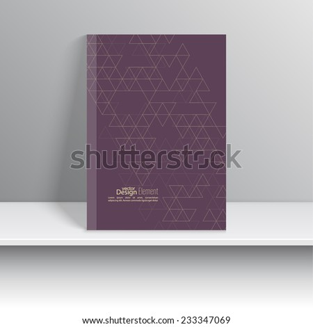 Magazine Cover with schematic pattern triangles. For book, brochure, flyer, poster, booklet, leaflet, cd cover design, postcard, business card, annual report. vector illustration. yellow, purple  - stock vector