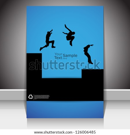 magazine cover, with silhouettes parkour illustration, vector. - stock vector