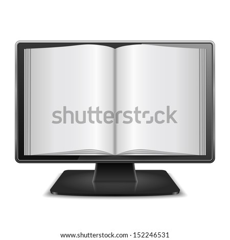 Magazine in computer monitor, vector eps10 illustration