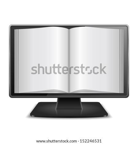 Magazine in computer monitor, vector eps10 illustration - stock vector