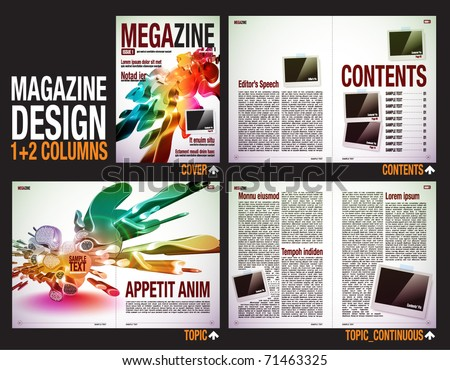 Magazine Layout Design Template with Cover + 6 pages (3 spreads) of Contents Preview. - stock vector