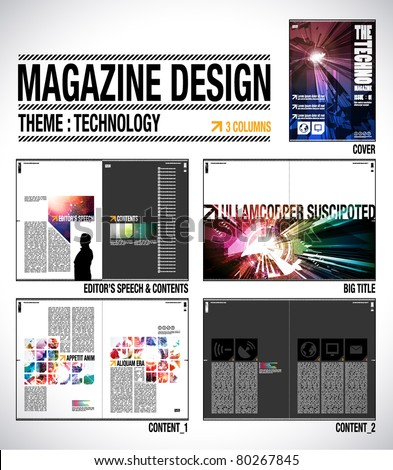 Magazine Layout Design Template with Cover + 8 pages (4 spreads) of Contents Preview. - stock vector
