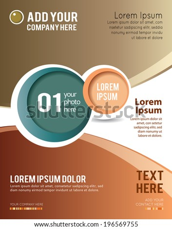 Magazine or brochure, vector design smooth wave curve lines and circles. Abstract background. - stock vector