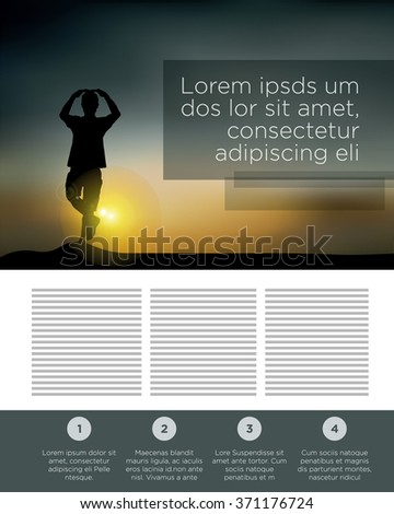 Magazine Page Layout Template With A Silhouette Of Man Making Yoga In Sunset