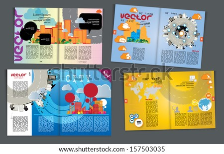 Magazine pages of city skyline. Vector  - stock vector
