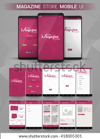 Magazine Store Material Design UI, UX, GUI screens and flat web icons for mobile apps, responsive website with Welcome, Sign Up, Login Form, Category, Filter, Product Details and Your Cart Features.