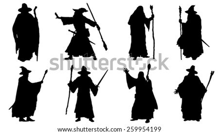 mage silhouettes on the white background - stock vector
