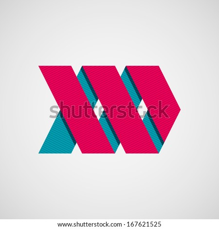 Magenta abstract right ribbon arrow sign with flat designed shadow and light background for internet sites, user interfaces (ui), applications (apps) and business presentations. Vector illustration. - stock vector