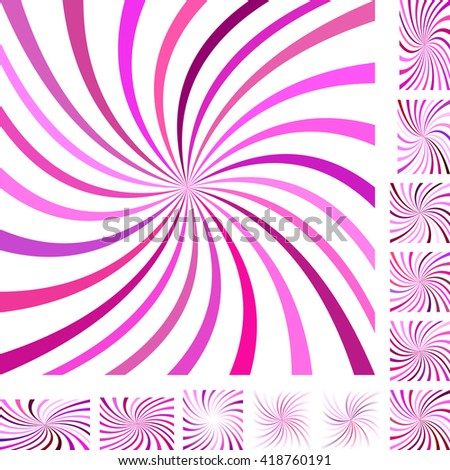 Magenta and white vector spiral design background set. Different color, gradient, screen, paper size versions. - stock vector