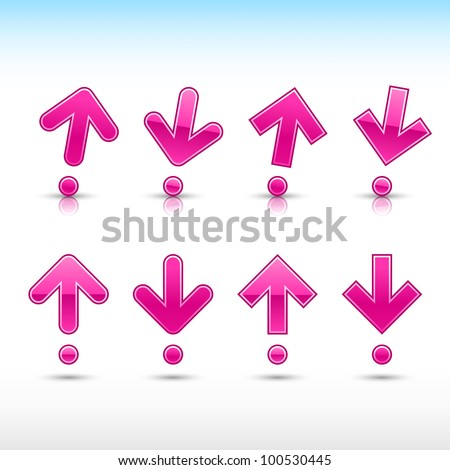 Magenta arrow sign in form of exclamation mark. Glossy and satined shapes with reflection on white background. Vector illustration saved in 10 eps. - stock vector
