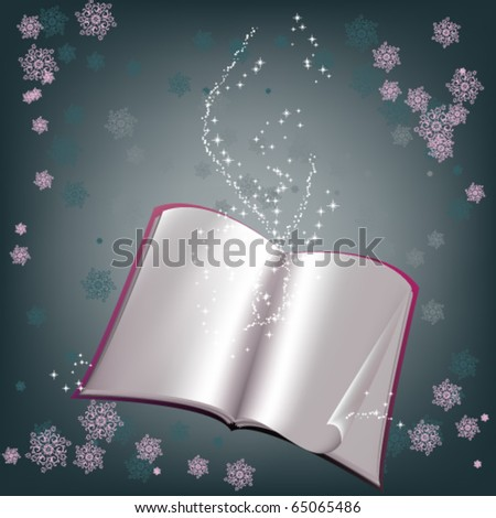 Magic background with fairy book - stock vector