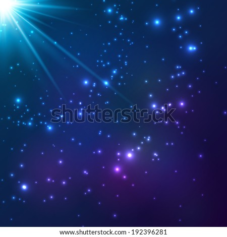 Magic blue vector cosmic light background - stock vector