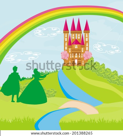 Magic castle and princess with prince - stock vector