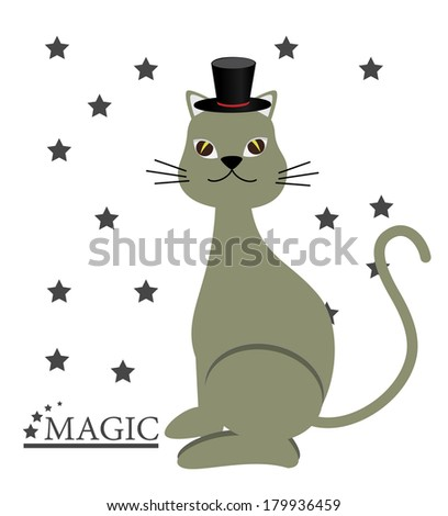 Magic cat cartoon over a white background vector illustration - stock vector