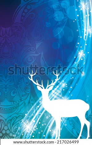 Magic Christmas background with silhouette of a deer. - stock vector