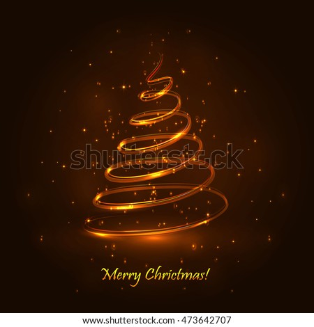 Magic Christmas Tree Gold Background Christmas Stock Vector  - Magic Christmas Tree