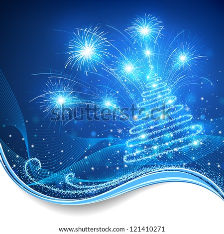 Magic Christmas tree with fireworks - stock vector