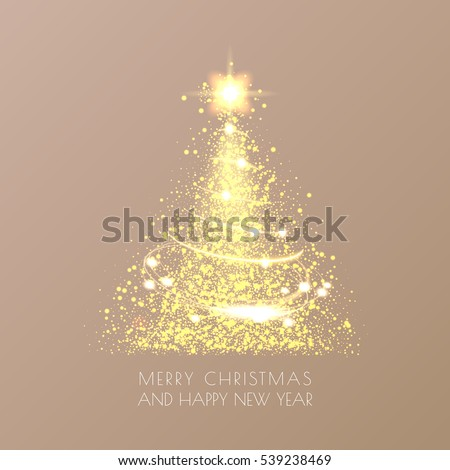 Magic Christmas tree with sparkle and gold dust on elegant vintage background. Merry christmas and Happy New Year greeting card. Vector illustration. EPS 10