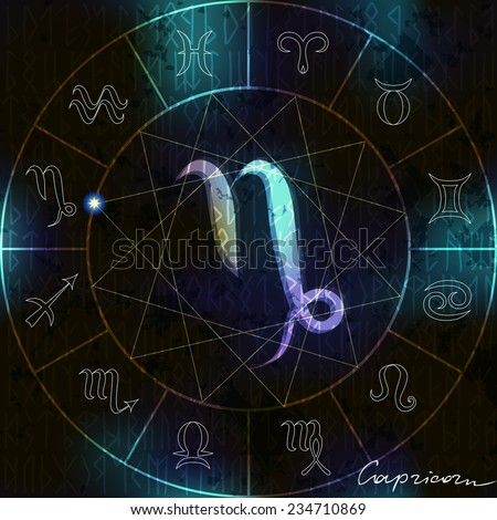 Magic circle in Capricorn astrological  symbol in center. - stock vector