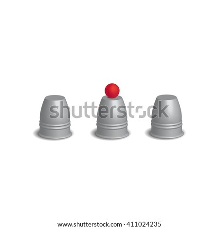 Magic cups game with red ball set, 3d Vector illustration.