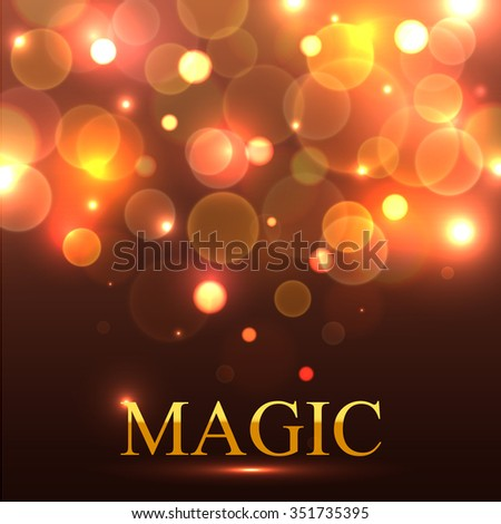 Magic delightful background for magical show. Sparkling, captivating magic vector background. Magic golden text. Magic light vector. Magic bokeh background. Magic show banner template. - stock vector