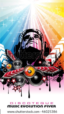 Magic Disco Music Event Background with a suggestive Disk Jockey