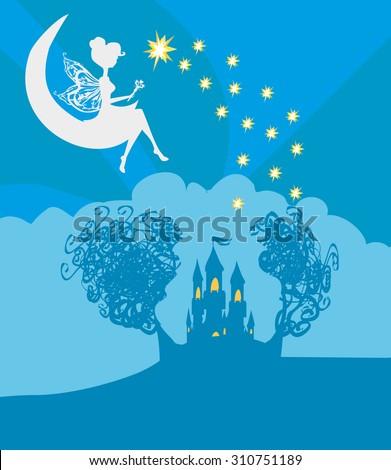 Magic Fairy Tale Princess Castle  - stock vector
